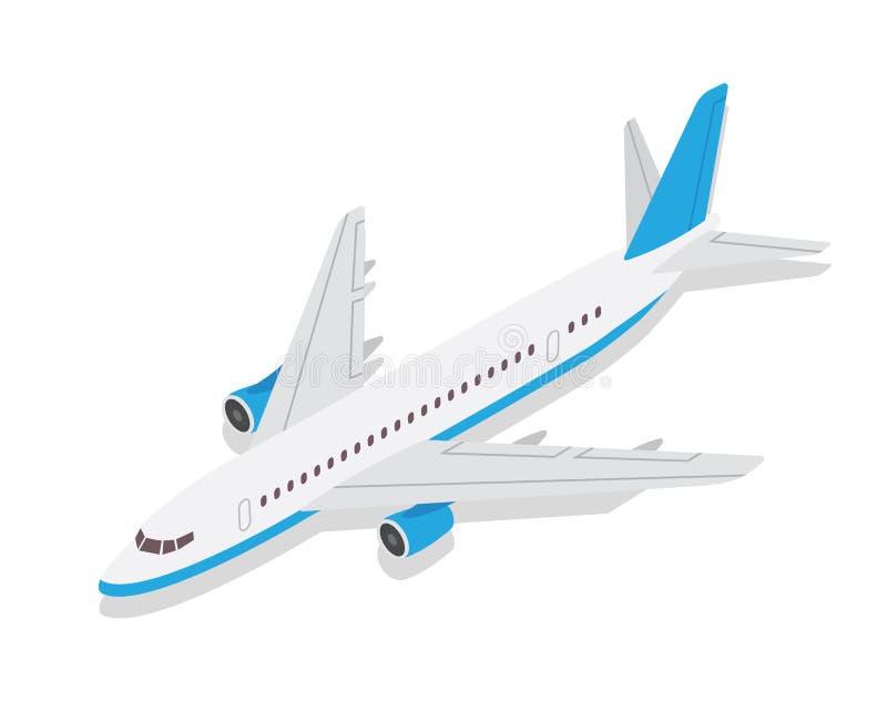 De moderne Isometrische Blauwe Commerciële Illustratie van het Vliegtuigluchtvervoer vector illustratie