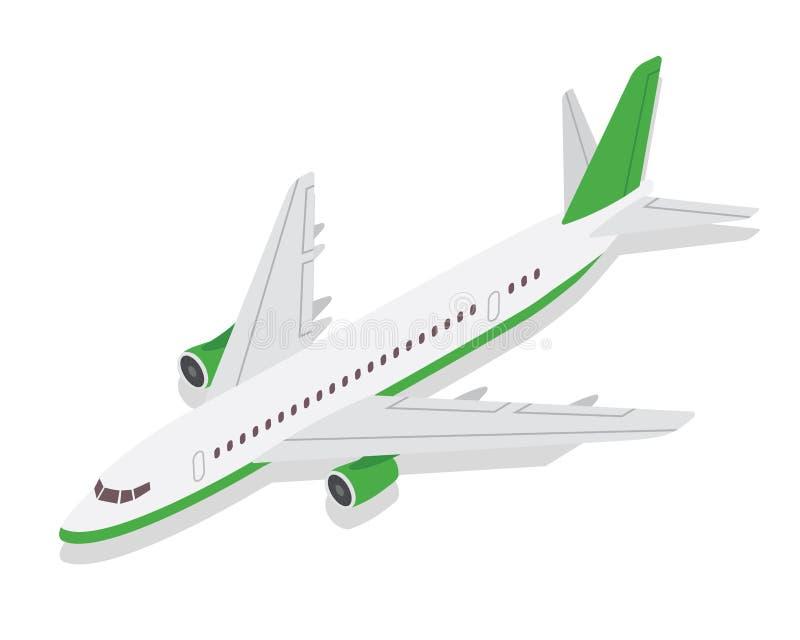 De moderne Isometrische Groene Commerciële Illustratie van het Vliegtuigluchtvervoer royalty-vrije illustratie