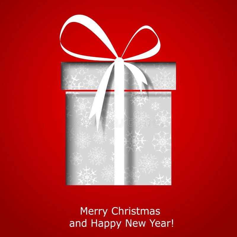 De moderne kaart van de Kerstmisgroet met de doos van de Kerstmisgift royalty-vrije illustratie