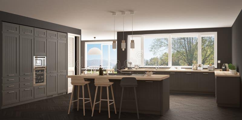 De moderne keuken van Scandinavië met grote vensters, panorama klassieke wh stock afbeelding