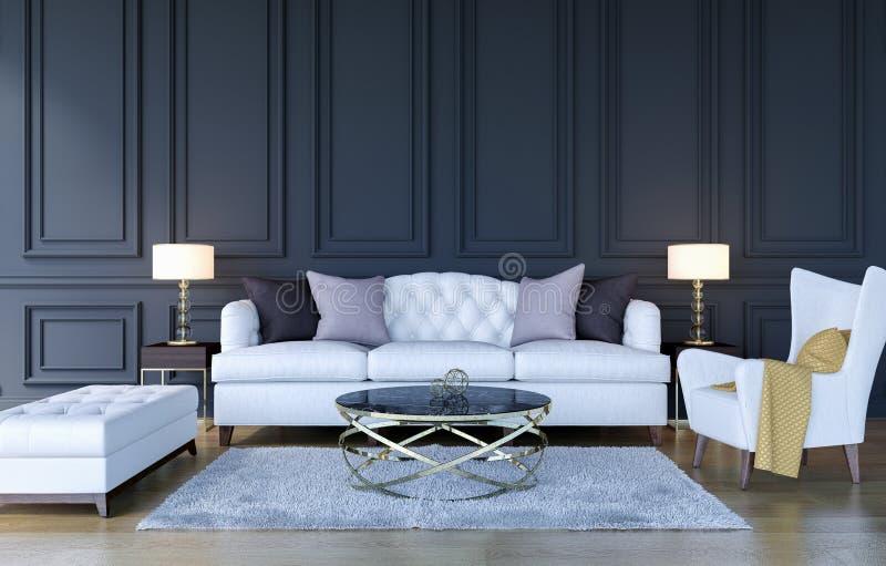 De moderne klassieke binnenlandse achtergrond van de luxewoonkamer met exemplaarruimte op muur, het 3D Teruggeven royalty-vrije stock afbeelding
