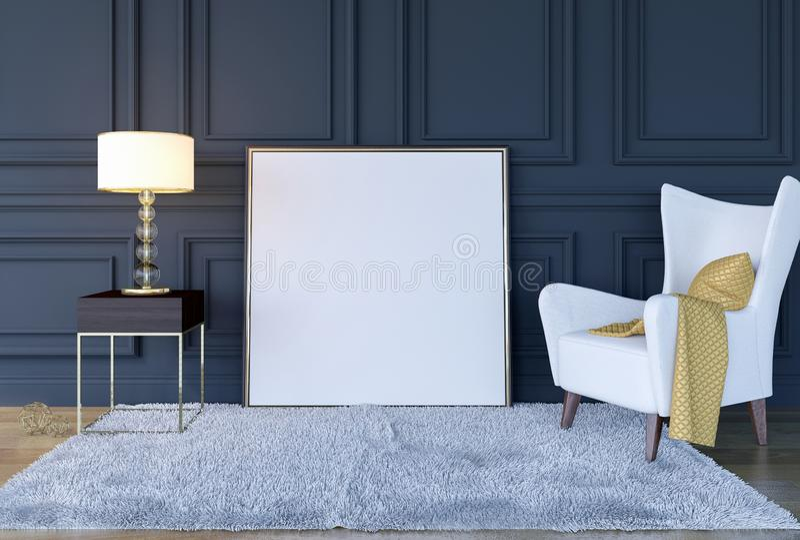 De moderne klassieke binnenlandse achtergrond van de luxewoonkamer met spot op affichekader, het 3D Teruggeven royalty-vrije stock foto