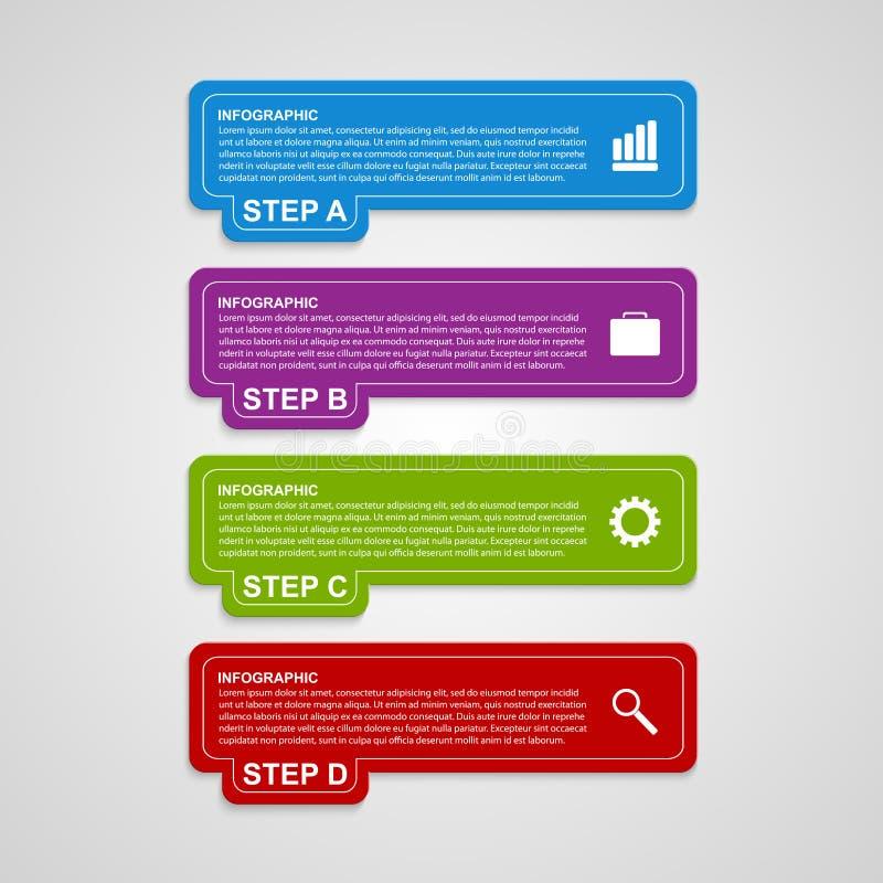 De moderne kleurrijke banner van vierkanten infographic opties stock illustratie