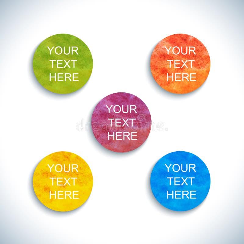 De moderne kleurrijke waterverf omcirkelt malplaatje met plaats voor uw tekst Vector illustratie vector illustratie