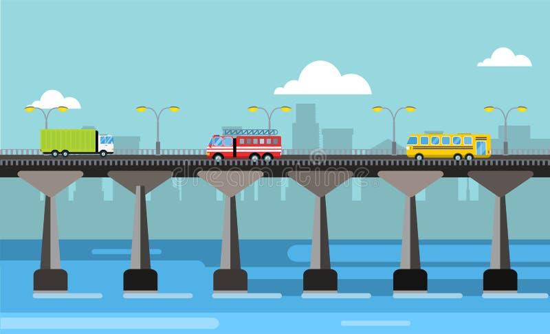De moderne mening van de de stadsnacht van de brug vectorillustratie royalty-vrije illustratie