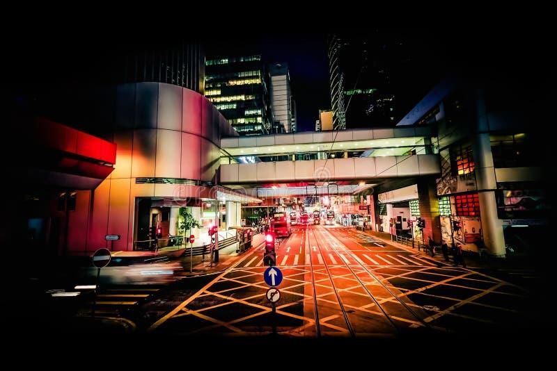 De moderne mening van de stads abstracte nacht Hon Kong royalty-vrije stock fotografie