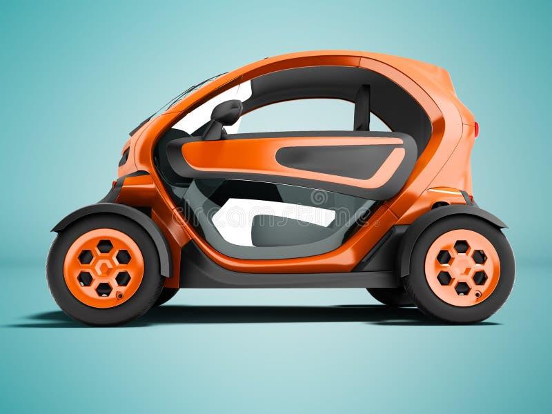 De moderne oranje elektrische auto voor stadsreizen aan twee zetels in de zitkamer op linker 3D geeft op blauwe achtergrond met s stock illustratie