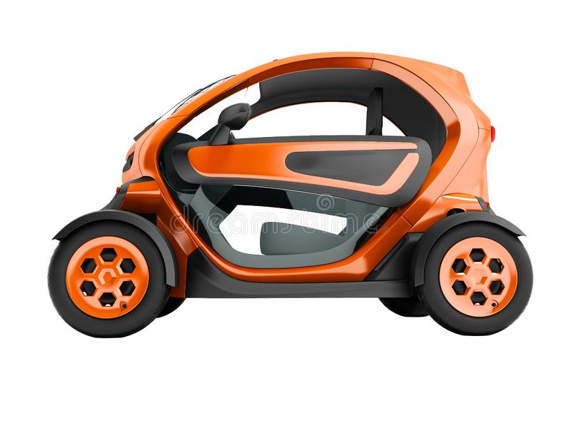 De moderne oranje elektrische auto voor stadsreizen aan twee zetels in de zitkamer op linker 3D geeft op witte achtergrond geen s stock illustratie