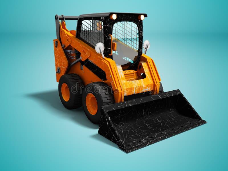 De moderne oranje minilader na het laden van 3d steen geeft op blauwe achtergrond met schaduw terug stock illustratie