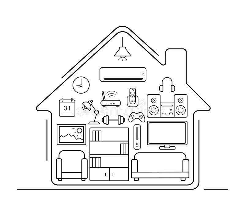 De moderne pictogrammen van de keukengerei dunne lijn stock illustratie