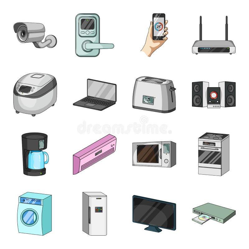 De moderne pictogrammen van het huishoudapparatenbeeldverhaal in vastgestelde inzameling voor ontwerp Web van de het symboolvoorr stock illustratie