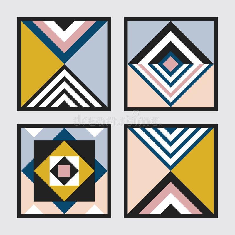 De moderne retro kleuren geometrische driehoek en het vierkante patroon van tegelskaders plaatsen op grijs vector illustratie