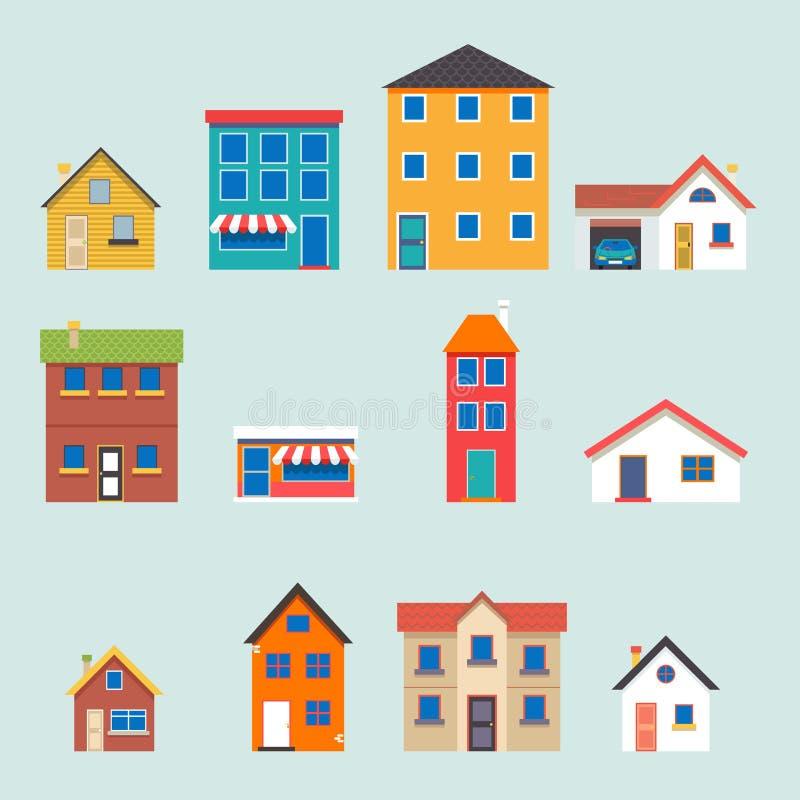 De moderne in retro vlakke geplaatste pictogrammen van de huisstraat stock illustratie