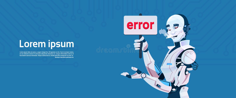 De moderne Robot toont Foutenmelding, de Futuristische Technologie van het Kunstmatige intelligentiemechanisme stock illustratie