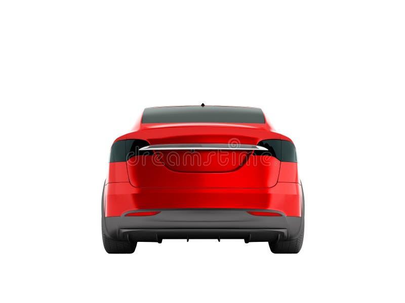 De moderne rode elektrische auto voor reis met familie achter 3d geeft terug vector illustratie
