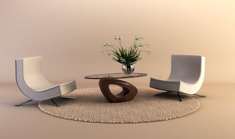 De moderne ruimte van de stijlzitkamer stock afbeelding