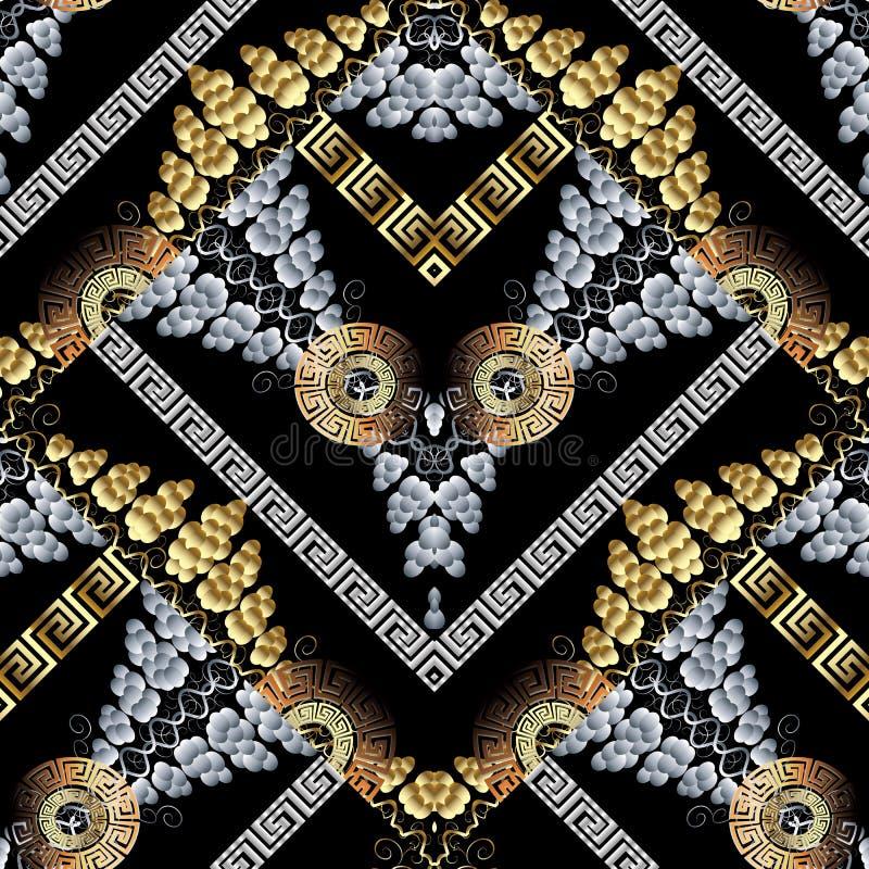De moderne samenvatting kronkelt naadloos patroon Zwarte vectorbackgrou stock illustratie