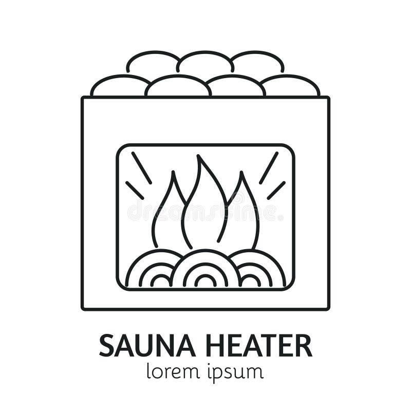 De moderne Sauna Heater Logotype Template van de Lijnstijl stock illustratie