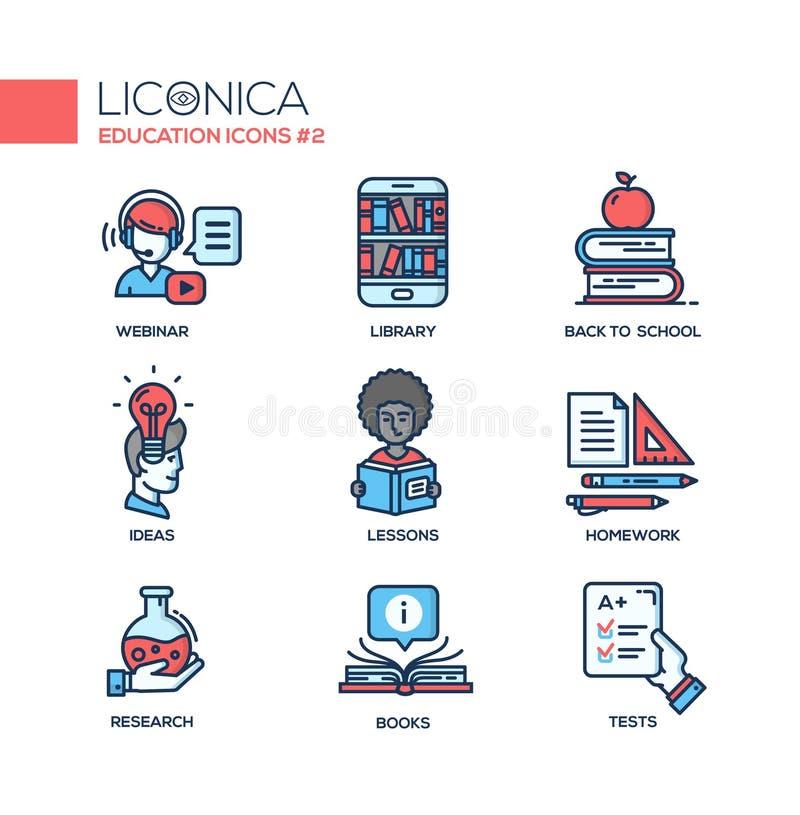 De moderne school en onderwijs dunne pictogrammen van het lijnontwerp, pictogrammen vector illustratie