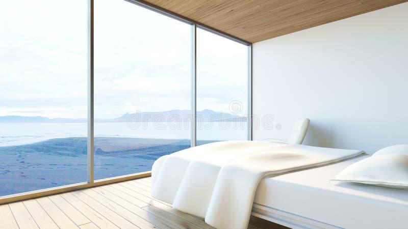 De moderne slaapkamer oceaanmening/3d geeft beeld terug vector illustratie