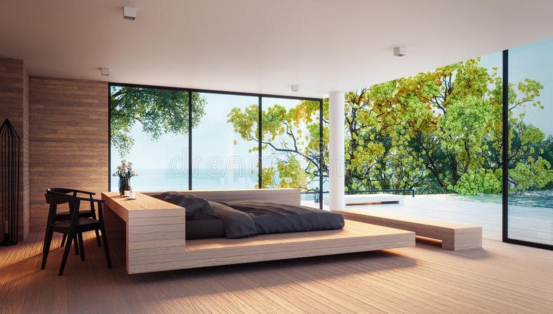 De Moderne Slaapkamer - Overzeese mening voor vakantie en de zomer/3d teruggevend binnenland vector illustratie