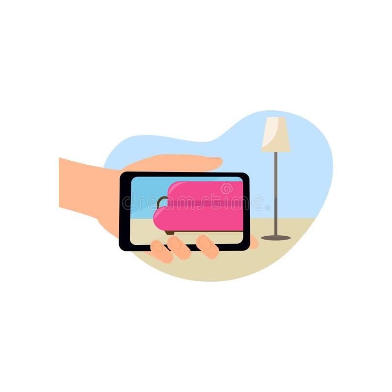 De moderne smartphone vergrote werkelijkheid van het mensengebruik aan zaagruimte stock illustratie