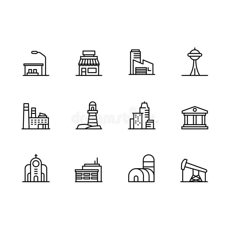 De moderne stad geplaatste symbolen van het de bouwpictogram Bevat pictogramkoffie, industriële fabriek, museum, bank, kerk, woon stock foto