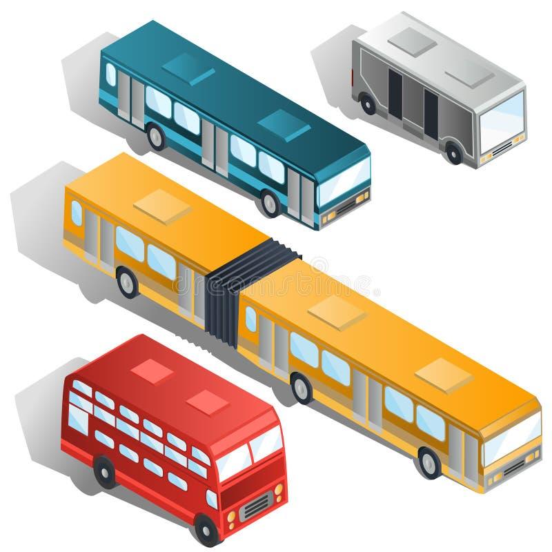 De moderne stad vervoert isometrische vectoreninzameling per bus vector illustratie