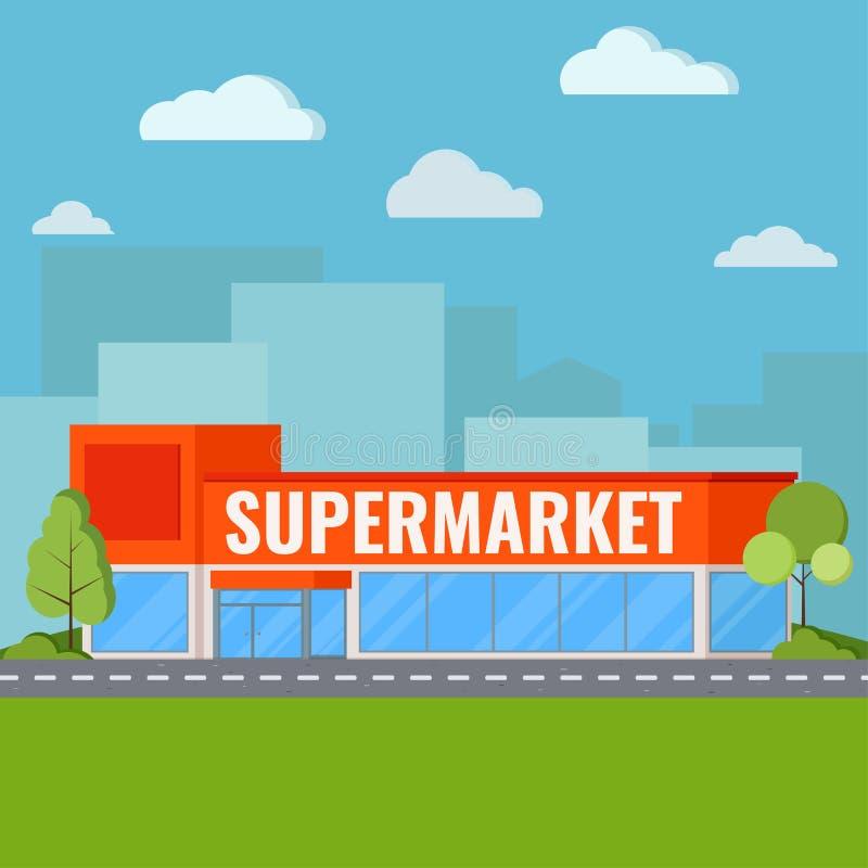 De moderne supermarkt bouw dichtbij wegweg met met struiken en bomen, wolken op blauwe hemel, groen gras op cityscape schaduw vector illustratie