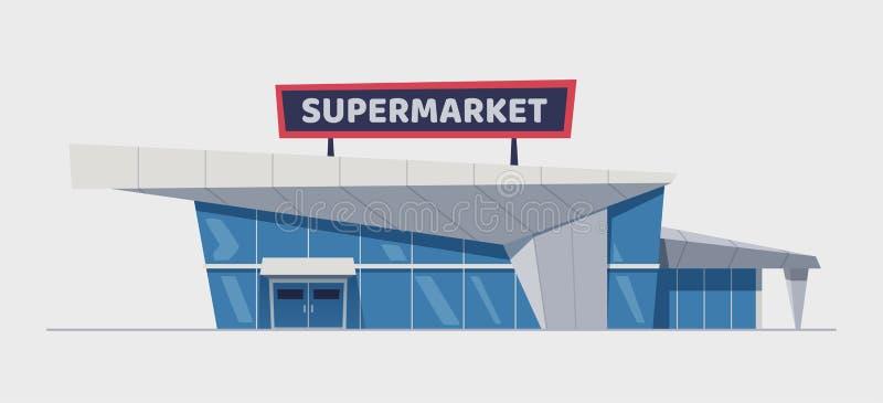 De moderne supermarktbouw De vectorillustratie van het beeldverhaal stock illustratie