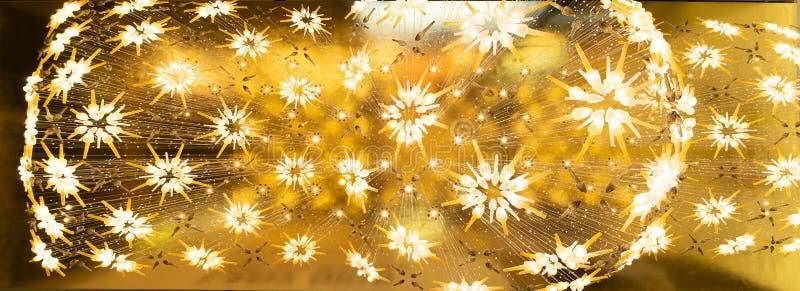 De moderne tegenhangerlichten met bloem vormden gloeilampen die op plafond, bodemmening hangen Close-up van binnenlandse ontwerpd stock afbeelding