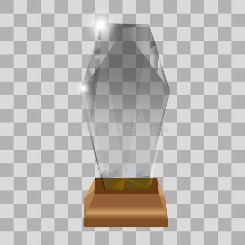 De moderne de trofeeën van de glaskop en van uitdagingsprijzen inzameling van zijaanzicht realistische pictogrammen tegen transpa stock illustratie