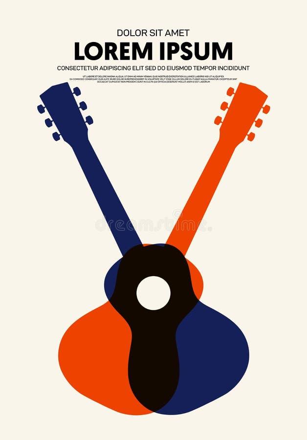 De moderne uitstekende retro stijl van de muziekaffiche vector illustratie