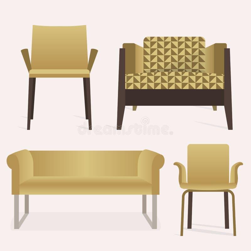 De moderne van het stijl gele bank en wapen reeks van het stoelmeubilair royalty-vrije illustratie