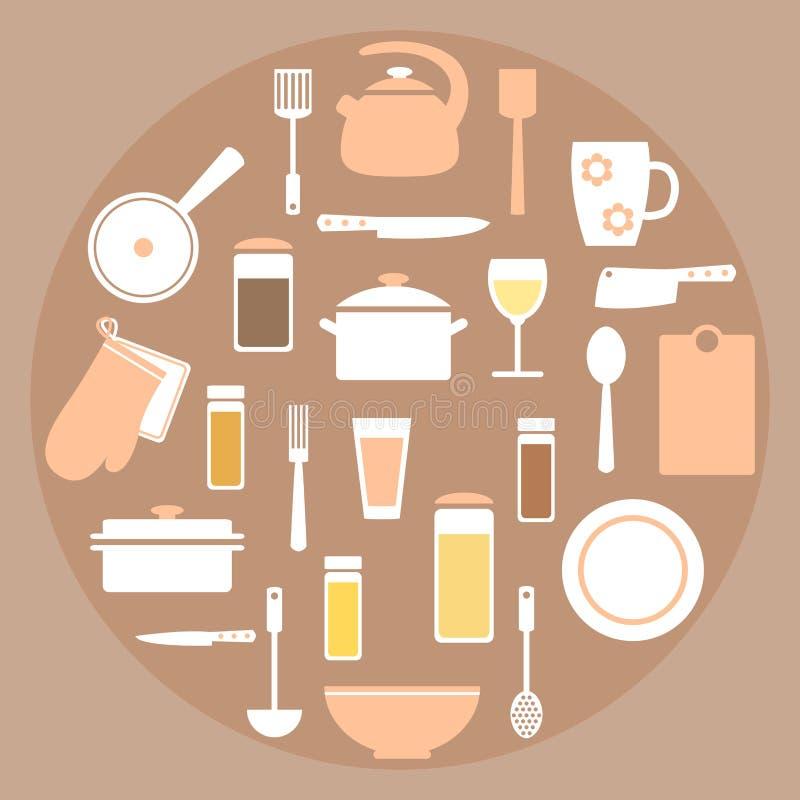 De moderne vastgestelde elementen van het keukenmateriaal in koraal, witte en bruine kleuren vector illustratie