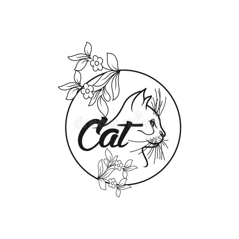 De moderne vector eenvoudige illustratie van het kattenembleem stock illustratie