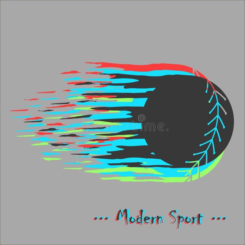 De moderne vectorachtergrond van het stijlhonkbal met softballontwerp en glitch effect stock foto