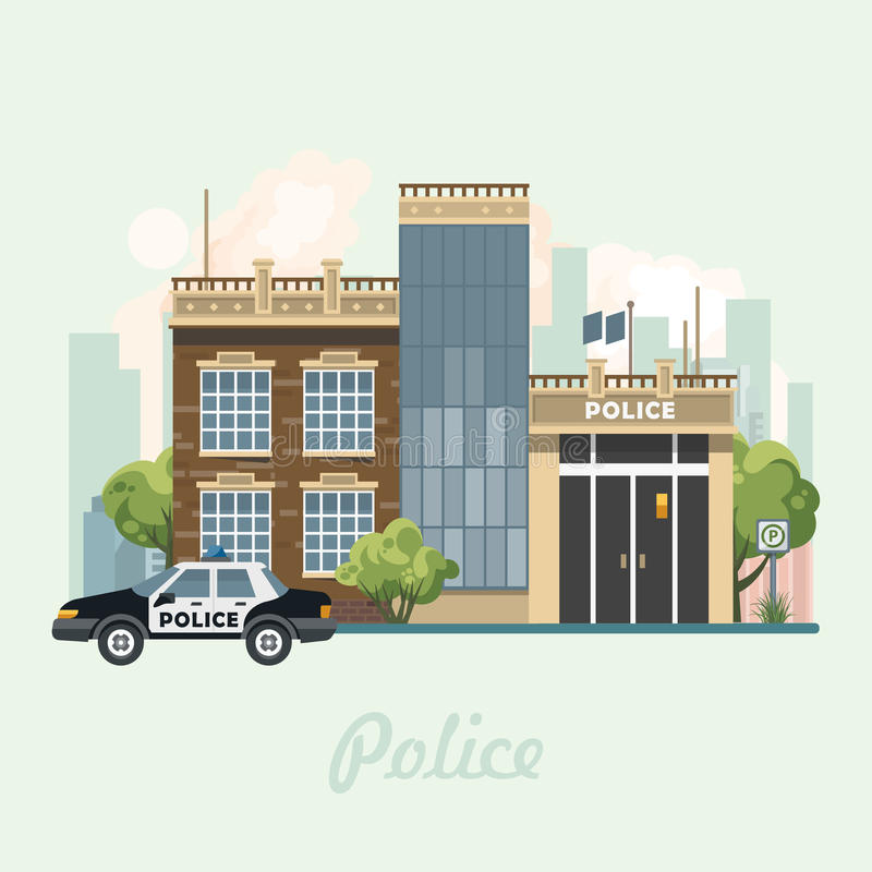 De moderne vectorillustratie van het stadscentrum in vlak ontwerp De bouw van het politiebureau vectorillustratie in vlak ontwerp stock illustratie