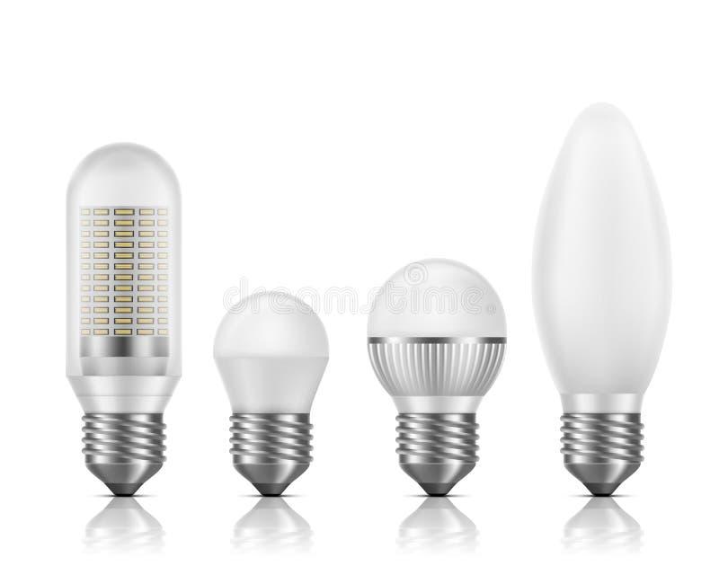 De moderne vectorreeks van energie efficiënte geleide lampen vector illustratie