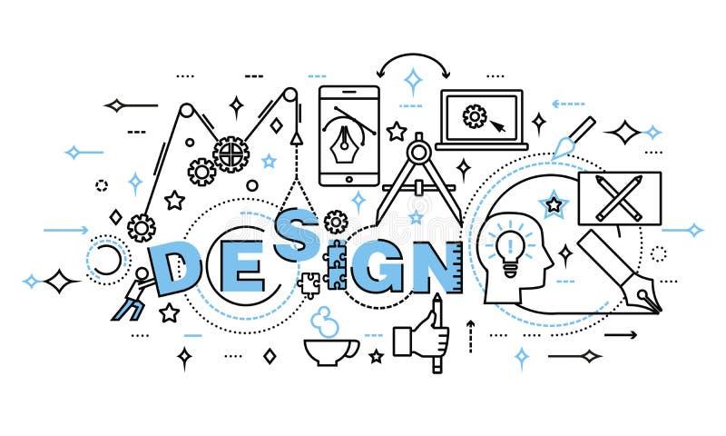De moderne vlakke dunne vectorillustratie van het lijnontwerp, concept ontwerpproces en Webontwikkeling vector illustratie