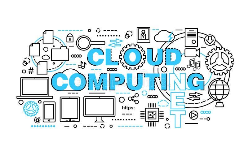 De moderne vlakke dunne vectorillustratie van het lijnontwerp, concept wolk gegevensverwerkingstechnologieën, beschermt computern royalty-vrije illustratie