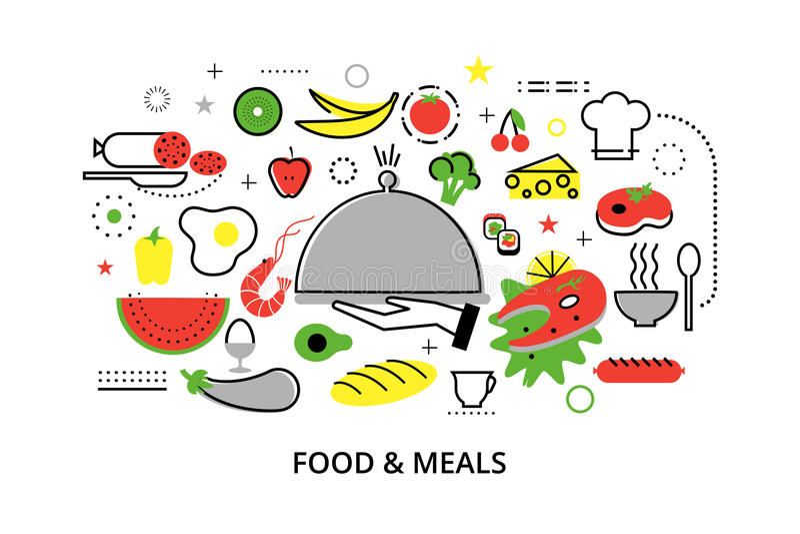 De moderne vlakke dunne vectorillustratie van het lijnontwerp, concepten eigengemaakt voedsel en restaurantmaaltijd stock illustratie