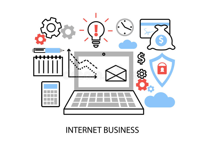 De moderne vlakke dunne vectorillustratie van het lijnontwerp, infographic concept Internet-zaken, online betalingen en aankopen vector illustratie