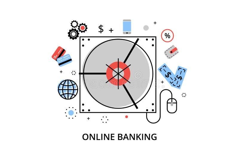 De moderne vlakke dunne vectorillustratie van het lijnontwerp, infographic concept online bankwezen, Internet-geldverrichtingen e stock illustratie
