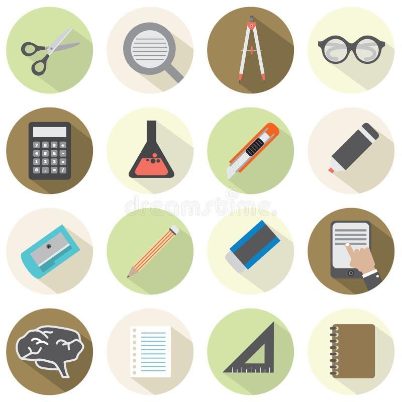 De moderne Vlakke Pictogrammen van het Ontwerponderwijs vector illustratie