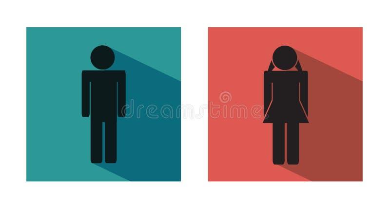 De moderne vlakke pictogrammen van WC of van het toilet - mannelijk en vrouwelijk pictogram vector illustratie
