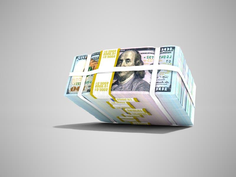 De moderne voorraad van dollars viel van boven het 3d teruggeven op grijze bac royalty-vrije illustratie