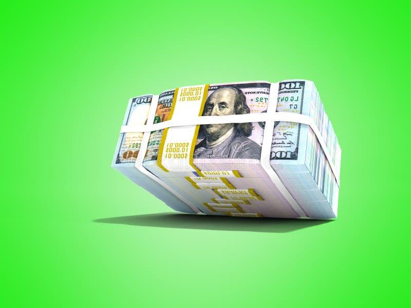 De moderne voorraad van dollars viel van hoogste 3d teruggeeft op groene B vector illustratie