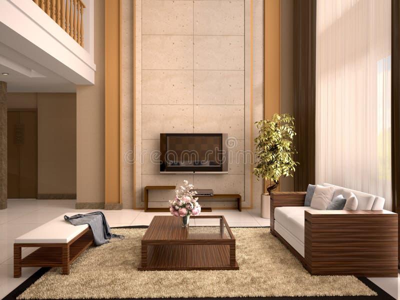 De moderne warme kleuren van de ontwerpwoonkamer stock illustratie