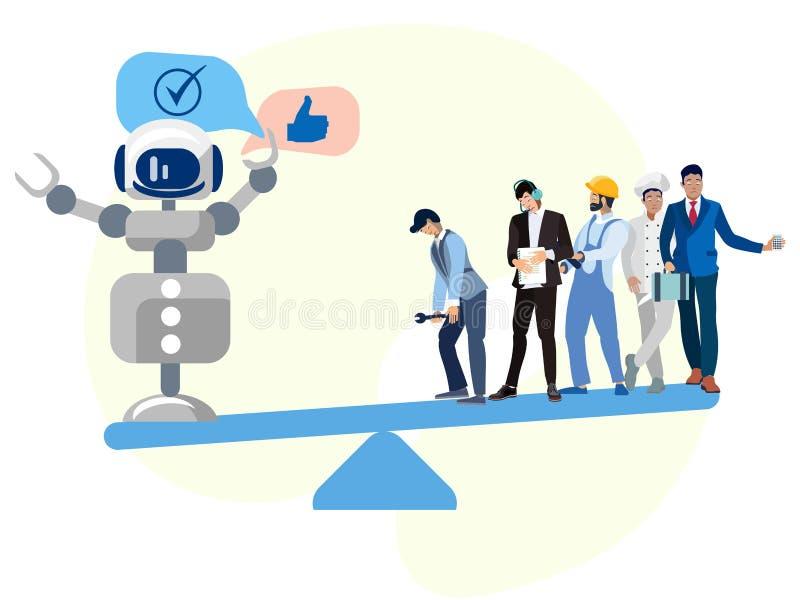 De moderne wereld, technologie is beter dan mensen In de minimalistische vlakke Vector van het stijlbeeldverhaal vector illustratie